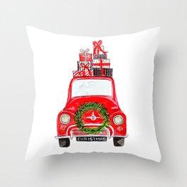Red Christmas Car - white  Throw Pillow