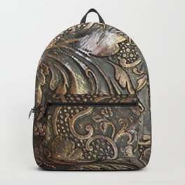 Golden Brown Carved Tooled Leather Backpack