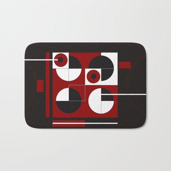 Geometric/Red-White-Black  1 Bath Mat