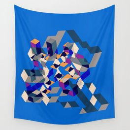 Blue collage Wall Tapestry