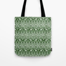 Jack Russell Terrier fair isle christmas sweater dog breed pattern holidays green and white Tote Bag