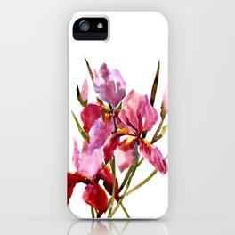 Purple Pink Iris Flowers iPhone Case