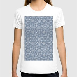 Merry Christmas- Abstract christmas snow star pattern on fresh grey T-shirt