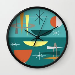 Turquoise Mid Century Modern Wall Clock