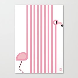 Striped Flamingo Canvas Print