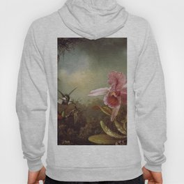 Orchid With Two Hummingbirds 1871 By Martin Johnson Heade | Reproduction Hoody