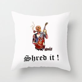 Shred it Skull guitar player  Throw Pillow