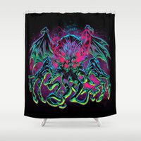 horror Shower Curtains featuring COSMIC HORROR CTHULHU by BeastWreck