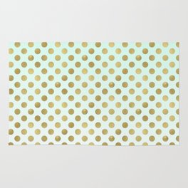 Mint Ombre Gold Dots Rug