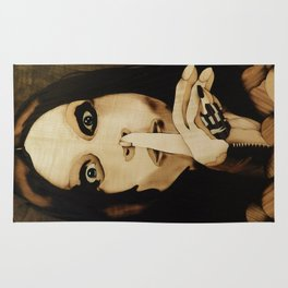 Shhh Ozzy of wood marquetry portrait art Rug