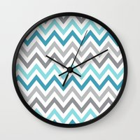 tina crespo Wall Clocks featuring TINA CHEVRON 2 by JUNE blossom