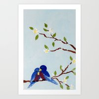Love Birds and White Blossoms Art Print