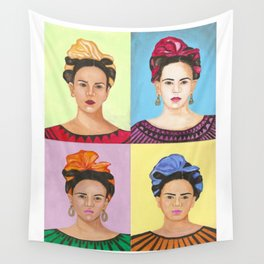 Frida Kahlo Inspired Colorful Pop Art Painting Wall Tapestry