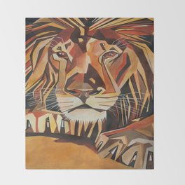 Lion Vector In Cubist Style Throw Blanket