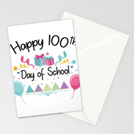 Happy 100 Days Of School For Teachers And Students Stationery Cards