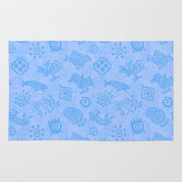 Polynesian Symbols in Mod Blue Rug