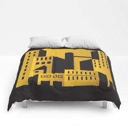 Golden city art deco Comforters