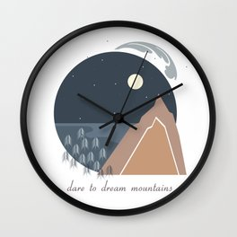 Midnight Sky, Dare to Dream Mountains Wall Clock