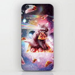 Outer Space Pizza Cat - Rainbow Laser, Taco, Burrito iPhone Skin