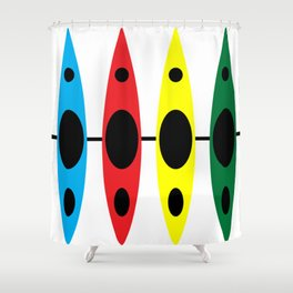 Four Kayaks | DopeyArt Shower Curtain