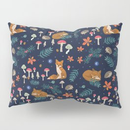 Fox and Hedgehog in Toadstool Woods In Blue Pillow Sham
