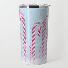 Christmas background with candy cane. Travel Mug