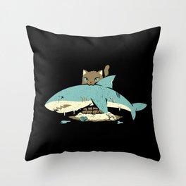 Cat Shark Funny Cat T-shirt  Throw Pillow