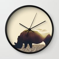 rhino Wall Clocks featuring Rhino by Yaroslav Greb