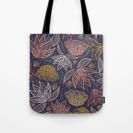 Bohemian Florals in Blue + Coral Tote Bag