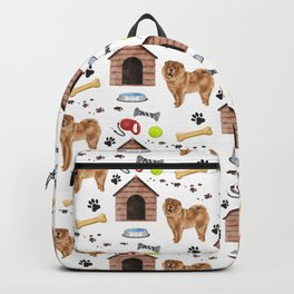 Chow Chow Dog Half Drop Repeat Pattern Backpack