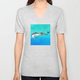 The Shark and the Mermaid Unisex V-Neck