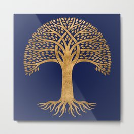 Golden Tree with Roots on Blue Metal Print