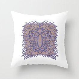 Great Philippine Eagle Head Mono Line Throw Pillow