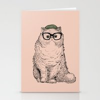persian Stationery Cards featuring Hipster Persian Cat by Huebucket