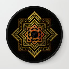 Golden Decorative Star of Lakshmi - Ashthalakshmi Wall Clock