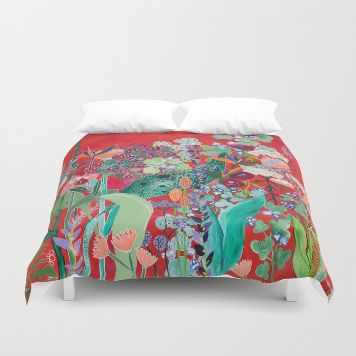 Red floral Jungle Garden Botanical featuring Proteas, Reeds, Eucalyptus, Ferns and Birds of Paradise Duvet Cover