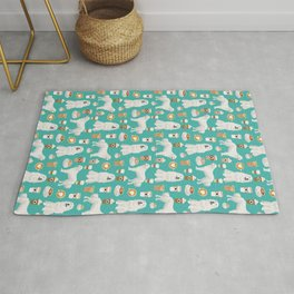 Great Pyrenees coffee lover pattern print gifts for dog breed unique dog person Rug