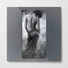 Lady in red 27 style version slate blue gray Metal Print