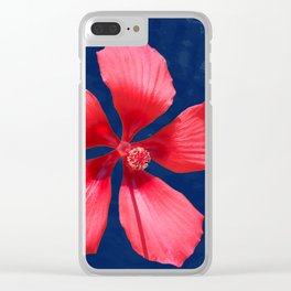 Hibiscus on Blue Clear iPhone Case