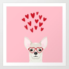 Chihuahua head dog gifts valentines day love hearts chihuahuas chiwawa Art Print