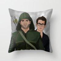 sterek Throw Pillows featuring Arrow!Sterek by Finduilas