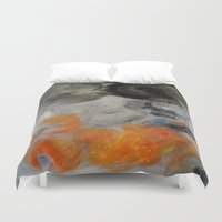 imagerybydianna Duvet Covers featuring empty hurricane fires by Imagery by dianna