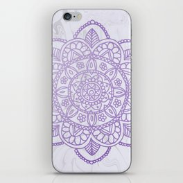 Lavender Mandala on White Marble iPhone Skin