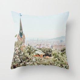 A stroll through Barcelona Throw Pillow
