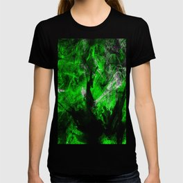 Emerald Blast - Abstract Black And Green Painting T-shirt