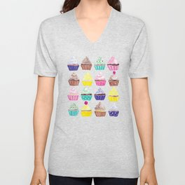 Watercolour Cupcakes Pattern Unisex V-Neck