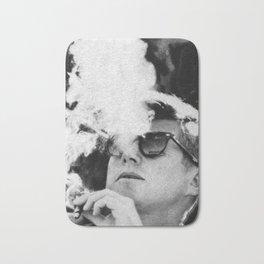 John F Kennedy Cigar and Sunglasses Black And White Bath Mat