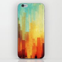 white iPhone & iPod Skins featuring Urban sunset by SensualPatterns