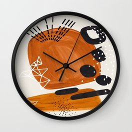 Fun Mid Century Modern Abstract Minimalist Vintage Brown Organic Shapes With Geometric Patterns Wall Clock