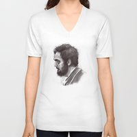 kubrick V-neck T-shirts featuring Stanley Kubrick by Laurent Samani